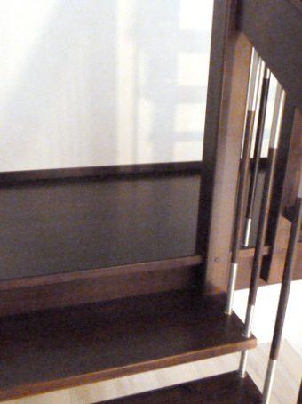 4 Freitragende Treppe mit Podest Massivholzbuche Farbe Wenge